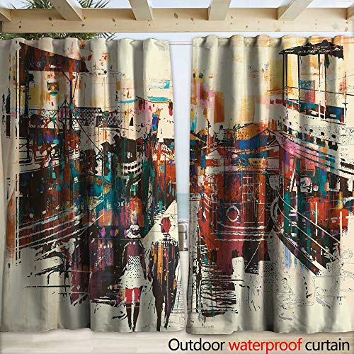 Outdoor Blackout Curtain Couple Walking on Harbor pier with Colorful Boats Drapery W108 x L96 (Right Pier Lighted)