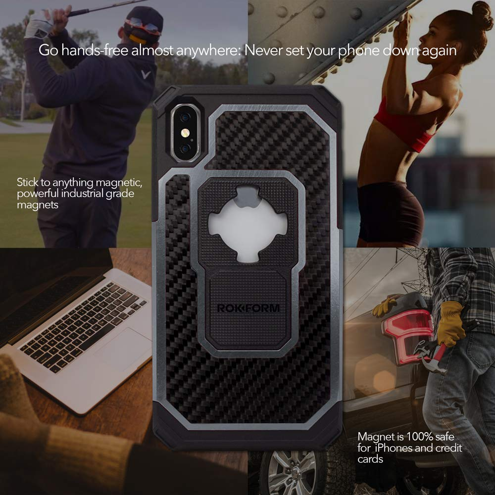 Rokform Fuzion Pro Series Gun Metal iPhoneX//Xs Case Protective Aluminum /& Carbon Fiber Magnetic case with Twist Lock Insert Included