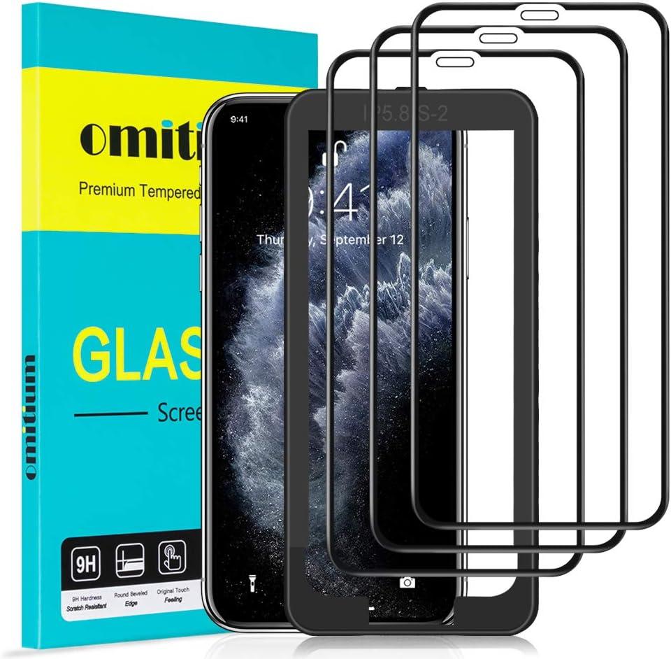 omitium Protector Pantalla para iPhone 11 Pro, [3 Piezas] Cobertura máxima iPhone XS/ iPhone X Cristal Templado [Marco Instalación Fácil] Sin Burbujas Dureza 9H Vidrio Templado iPhone 11 Pro -5,8