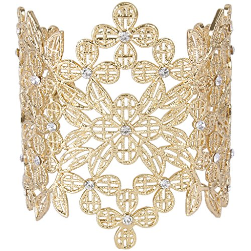 EVER FAITH Austrian Crystal Art Deco Hollowed-Out Clover Flower Leaf Lace Cuff Bracelet Clear Silver-Tone