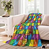 Board Game Throw Blanket Cute Snakes Smiling Faces Numbers in Squares Ladders Childrens Kids Play Print Warm Microfiber All Season Blanket for Bed or Couch 50 x 30 inch Multicolor