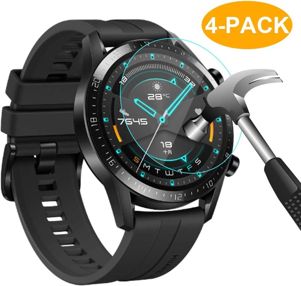 CAVN Protector de pantalla compatible con Huawei Watch GT2 46mm, 4 unidades, impermeable, a prueba de golpes,antiburbujas, protector de pantalla de cristal templado para GT 2 Watch