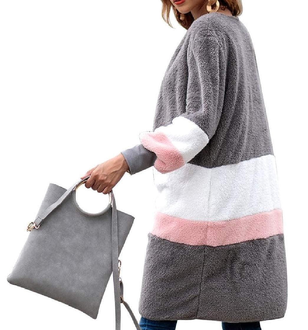 YUNY Womens Open Front Splicing Contrast Mid Long Baggy Velvet Outwear Jacket Pattern2 L