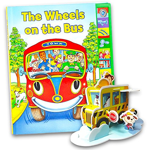 The Wheels on the Bus Interactive Book Set -- Play-a-Song Book with Sound Buttons and School Bus Craft Activity Pack School Bus Song