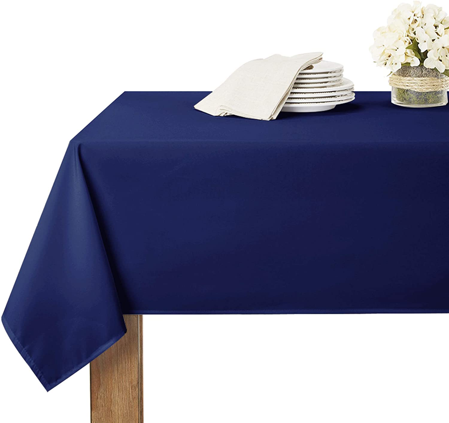 RYB HOME Outdoor Tablecloth Rectangular Table Linens Spillproof Water Resistant Tabletop Decor for Kitchen / Dining / Brithday Party / Baby Shower, 60 inch by 102 inch, Navy Blue
