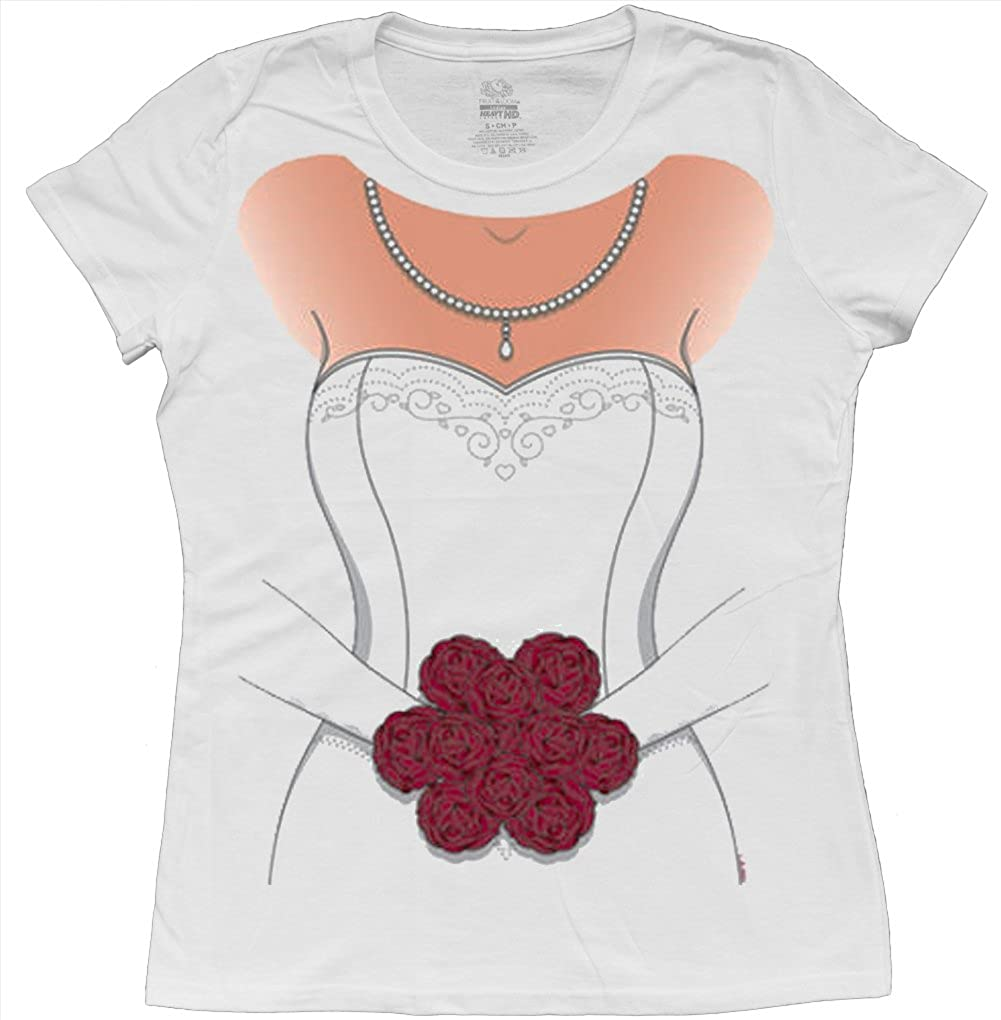 Amazon.com: Ladies white wedding dress t shirt womens bride tee