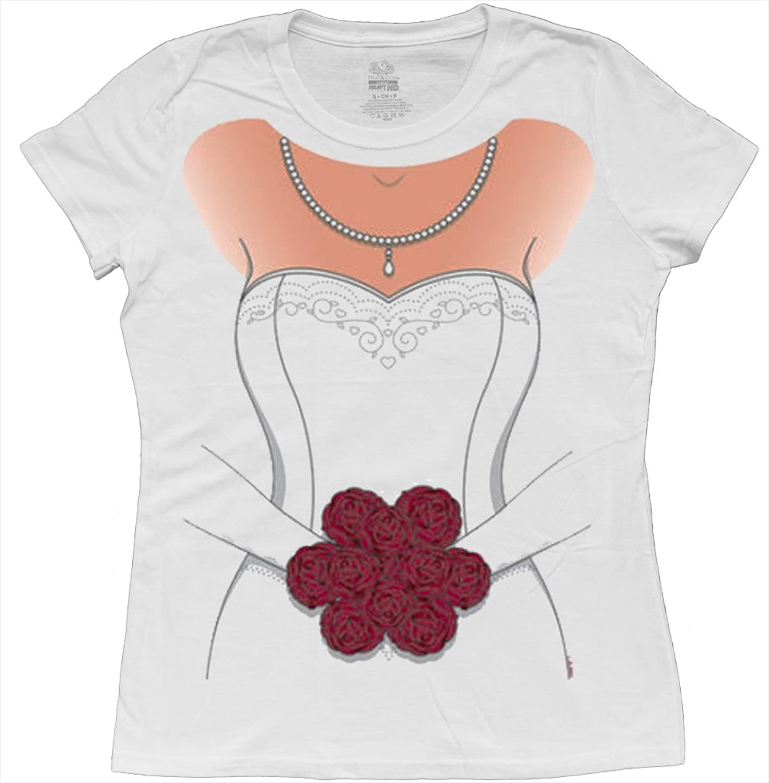 Amazon.com: Ladies white wedding dress t-shirt womens bride tee ...
