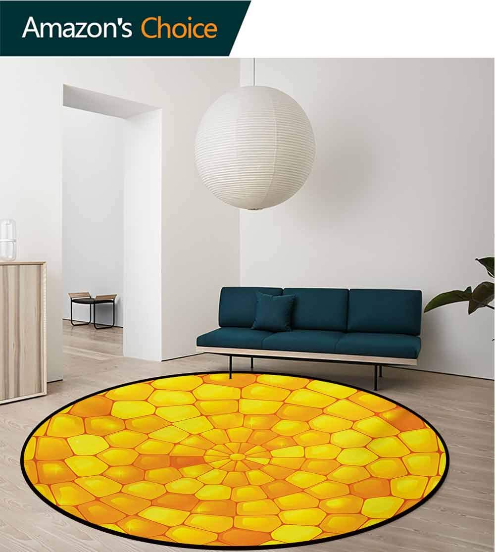 RUGSMAT Yellow Modern Washable Round Bath Mat,Abstract Corn Pattern with Vivid Colored Design Elements Country Life Themed Non-Slip Bathroom Soft Floor Mat Home Decor,Round-71 Inch