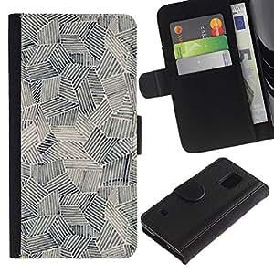 iBinBang / Flip Funda de Cuero Case Cover - Art Painting Shapes Black White - Samsung Galaxy S5 V SM-G900