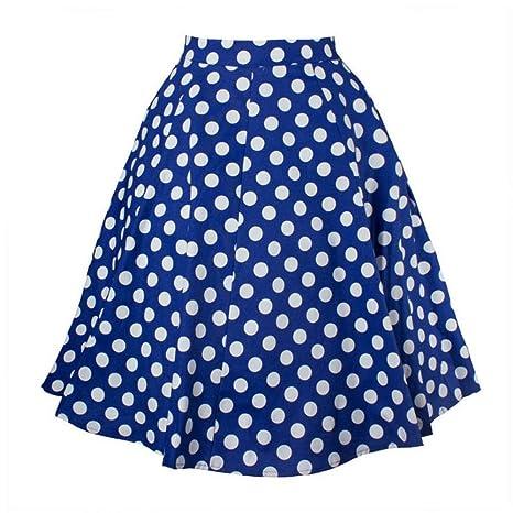HEHEAB Falda,Azul con Puntos De Spandex Algodón Algodón Cintura ...