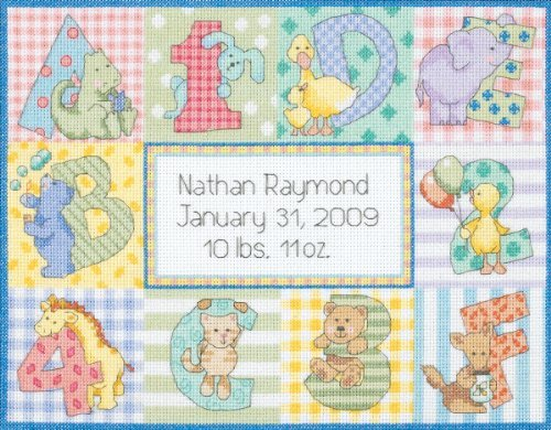 (Brand New Baby Hugs Zoo Alphabet Birth Record Counted Cross Stitch Kit-12