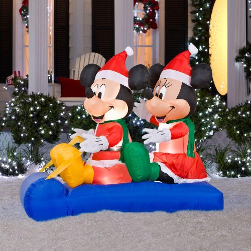 5 ft. Airblown Lighted Mickey and Minnie's Sled Scene Holiday Christmas decoration ()