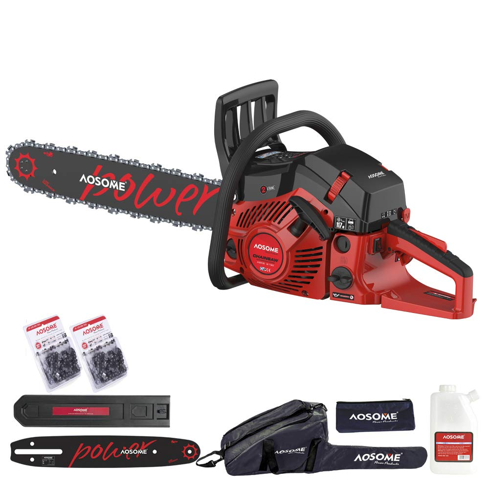 AOSOME 62CC Petrol Chainsaw Powerful Gasoline chain saws with 2 Chainsaw Chains - Carry Bag Tenwell