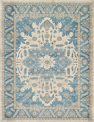 Luxury Vintage Persian Design Heriz Rug Cream 9' x 12' St.George Collection Area Rugs