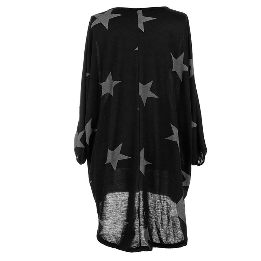 ENJOYNIGHT Womens One Shoulder Casual Printed Long Sleeve Batwing Tunic Top Mini Dress (Large, Black)