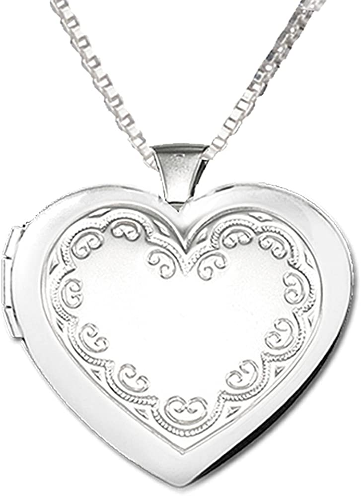 Sterling Silver Girls .8mm Box Chain Scrolled Letter S Pendant Necklace