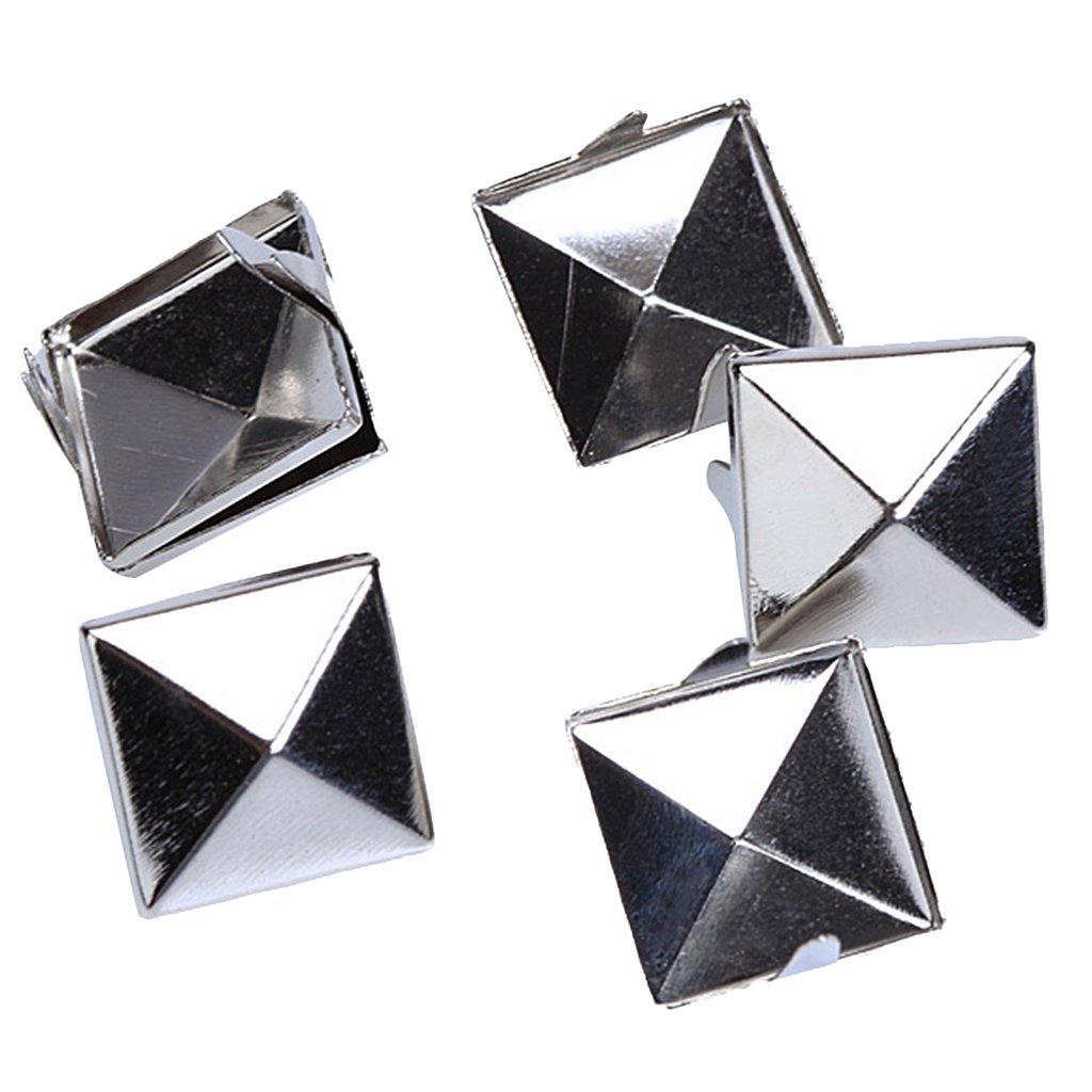 100pcs 2 Dientes Remaches Piramides 12mm Plata Pyramid Studs