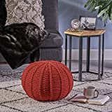 Agatha Knitted Cotton Pouf, Red