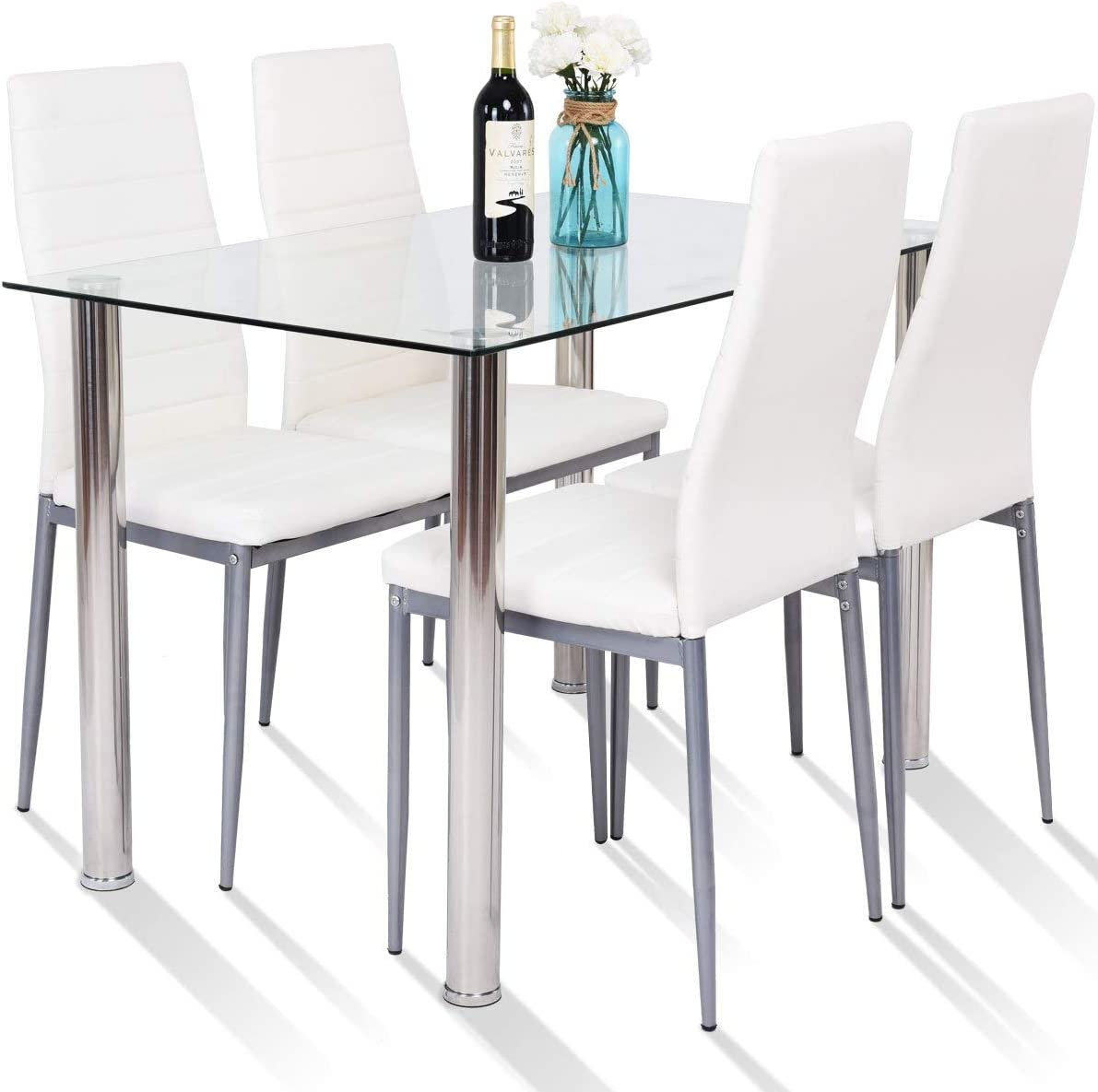 Amazon.com - Tangkula 5 PCS Dining Table Set Modern Tempered ...