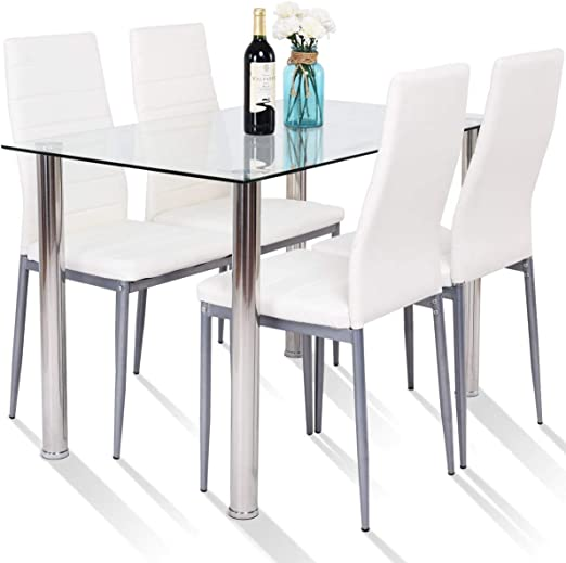 Amazon Com Tangkula 5 Pcs Dining Table Set Modern Tempered Glass Top And Pvc Leather Chair W 4 Chairs Dining Room Kitchen Furniture White And Silver Table Chair Sets