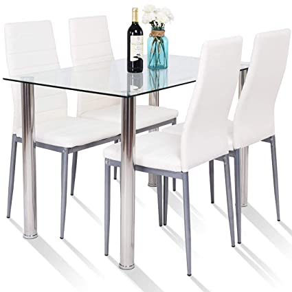 225 & Tangkula 5 PCS Dining Table Set Modern Tempered Glass Top and PVC ...