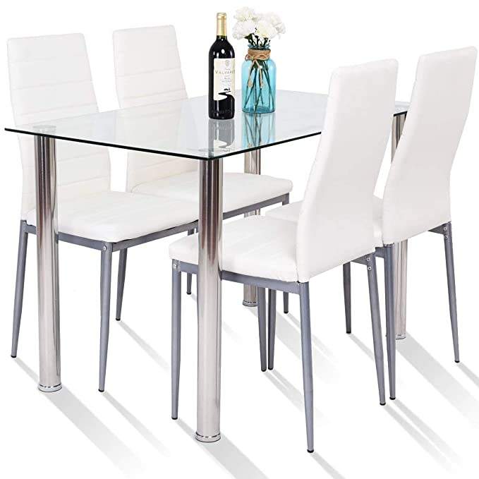 img buy Tangkula 5 PCS Dining Table Set Modern Tempered Glass Top and PVC Leather Chair w/4 Chairs Dining Room Kitchen Furniture (White and Silver)