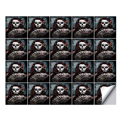 YOLIYANA Day of The Dead Decor Stylish Ceramic Tile Stickers 20 Pieces,Make up Artist Girl with Dead Skull Scary Mask Roses Print for Home Restaurant,7.8
