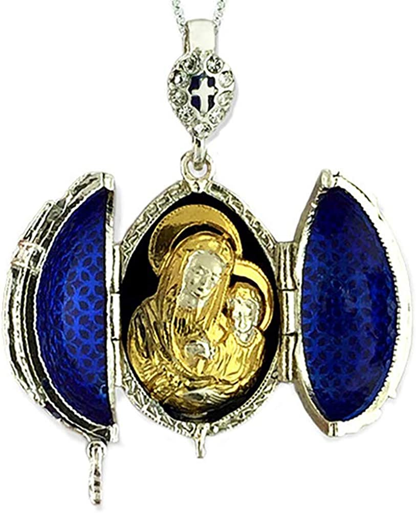 Religious Gifts Blue Egg Pendant 925 Silver Locket Madonna and Child 1 1//2 Inch