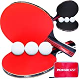 Ping Pong Paddle Set of 4 by PONGBEAST - Table Tennis Set Includes 6 Table Tennis Balls and Carrying Case - Professional Rackets - Indoor and Outdoor Ping Pong Paddles