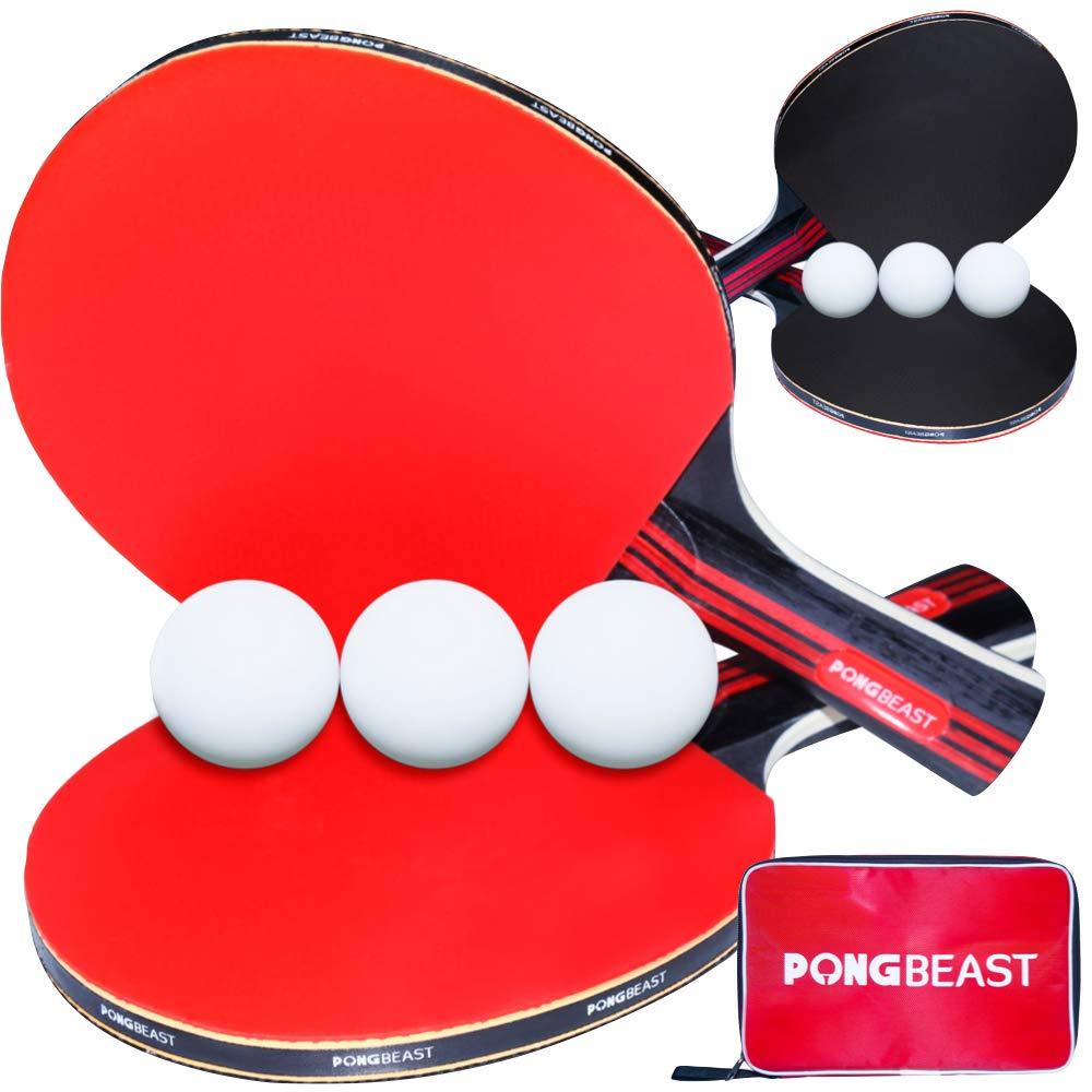 Ping Pong Paddle Set of 4 Pro Wood Ping-Pong Paddles and 8 Light Regulation