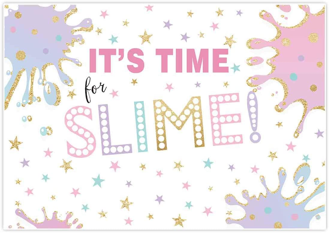 Allenjoy 7x5ft Unicorn Slime Backdrop for Girls Birthday Party Decoration Pink and Purple Star It is Time Summer Fun Themed Children Kids Photography Background Photo Studio Booth Props Banner