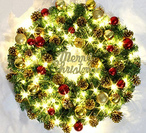Sweet Spring Water Beautiful Battery Operated LED Light Christmas Decorative Wreath, 12-Inch (02) ()