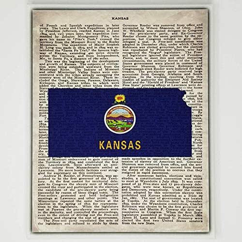 Amazon Com Kansas Flag Canvas Wall Decor 8x10 Decorative Kansas State Map Silhouette Encyclopedia Art Print Ready To Hang Home State Love Handmade Gifts Ks Decorations Handmade