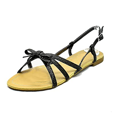 SendIt4Me Black Flat Sandals With White Cleated Sole and Tiger Print Strap wa7cjk96w
