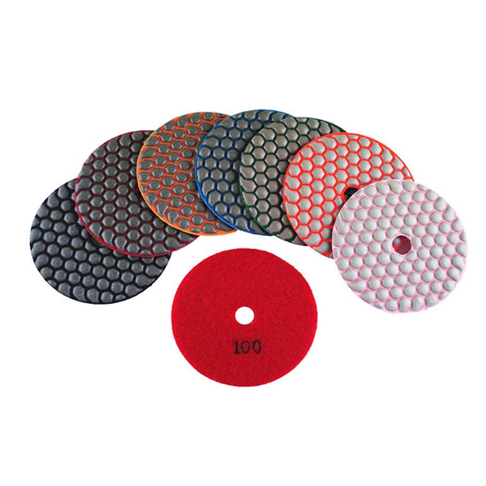 MURAT Dry Diamond Polishing Pads 4 Inch Premium Matte Grinding Pads for Concrete Marble Granite 7 PCS Grit 50-3000# (4inch,7pcs)