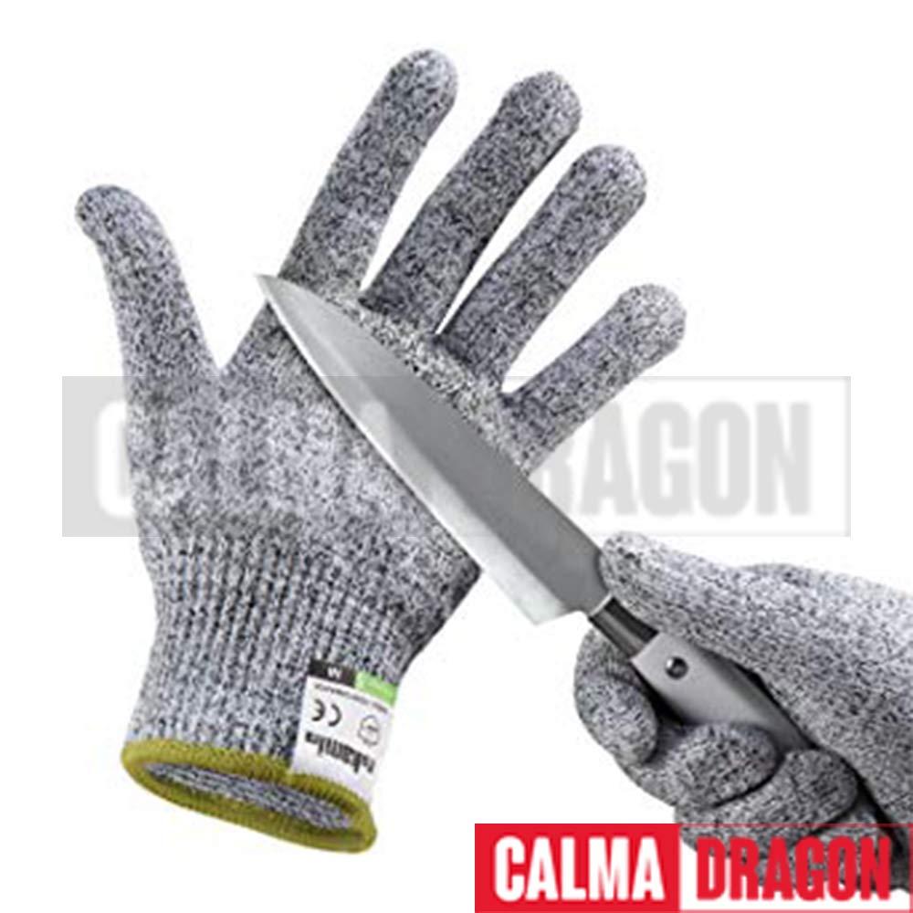 CalmaDragon Guantes Resistentes a Cortes para Alimentos Preteccion para Cocina y Aire Libre Nivel 5 Guantes a Prueba de Corte. (Medium)