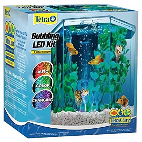 Choktavee !Tetra 29040 Hexagon Aquarium Kit with LED Bubbler, 1-Gallon - Tetra Tubing