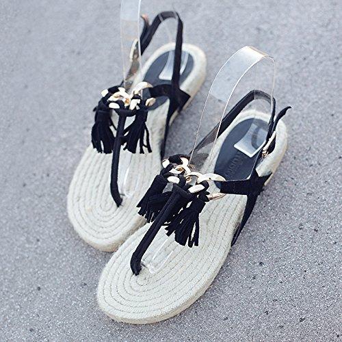 YMFIE Señoras' el Verano Metal Borla Toe Toe Sandalias cómodas Zapatillas de Playa resbaladizas. a