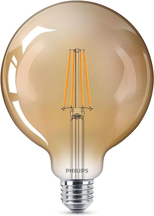Image ofPhilips LED bombilla forma globo, consumo de 8W equivalente a 50 W de una bombilla incandescente, casquillo gordo E27 luz blanca cálida, efecto ahumado           [Clase de eficiencia energética A++]
