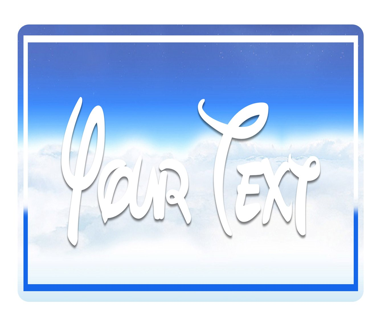 BleuReign(TM) Personalized Custom Name Funky Letters Alphabet Font on Clouds Background Square Refrigerator Fridge Magnet