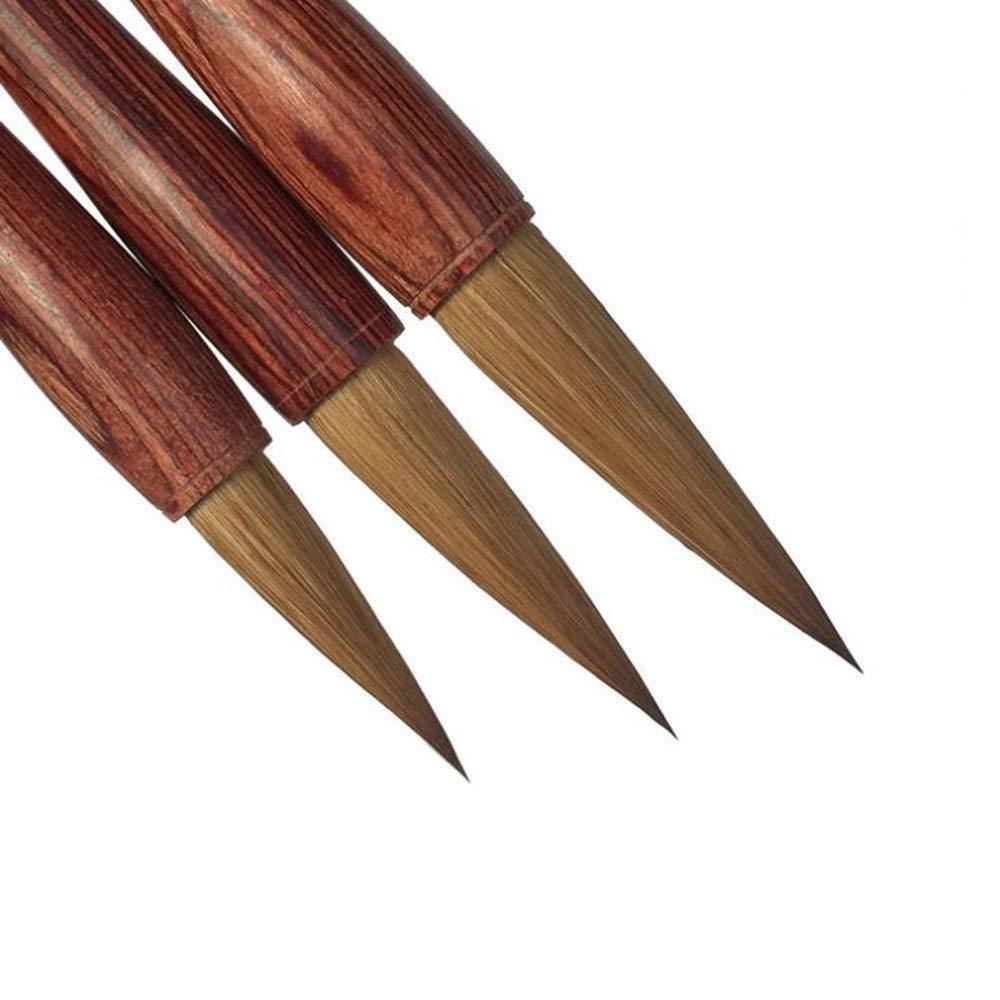 Brown Brush Head Pen,Writing Brush,Chinese Brush,Handmade Ancient French Brush( 3 Pcs ) by Writing brush set
