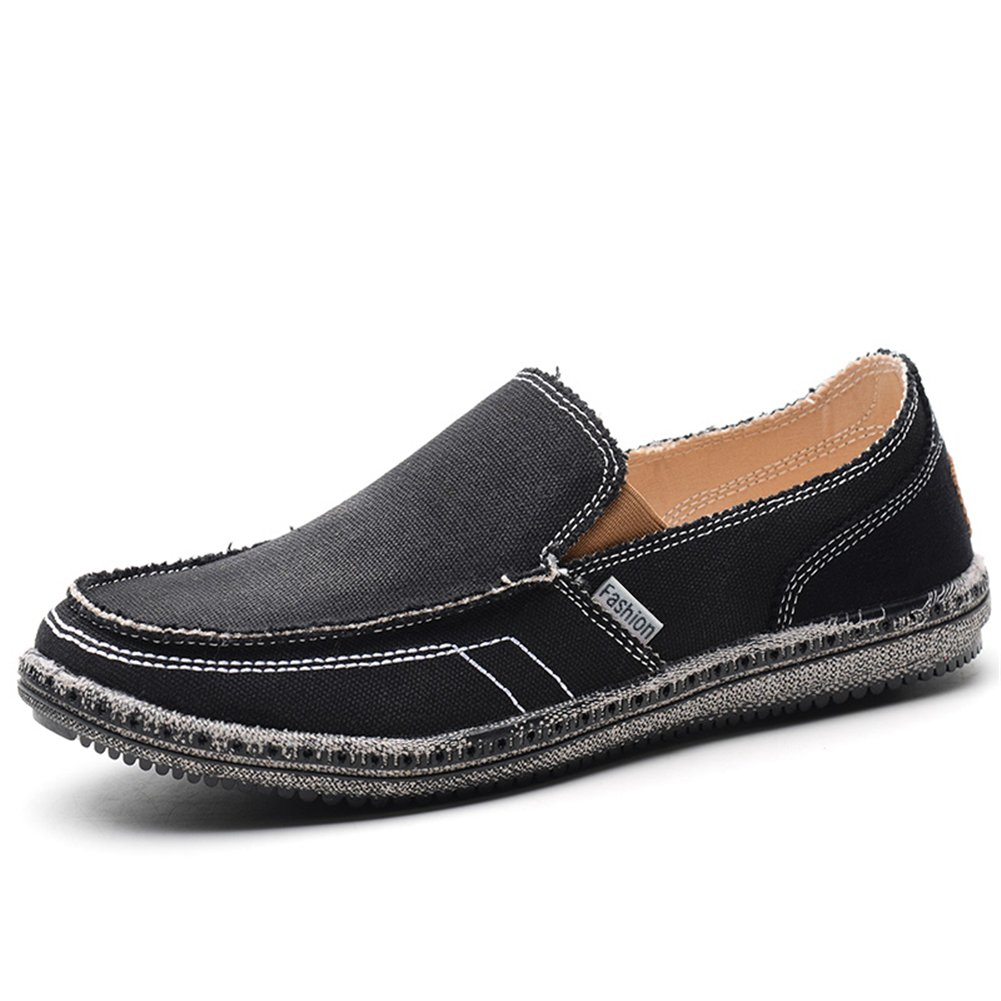 KONHILL Men's Slip-On Loafers Canvas Vintage Flat Boat Deck Shoes for Driving Walking Outdoor, Black, 44