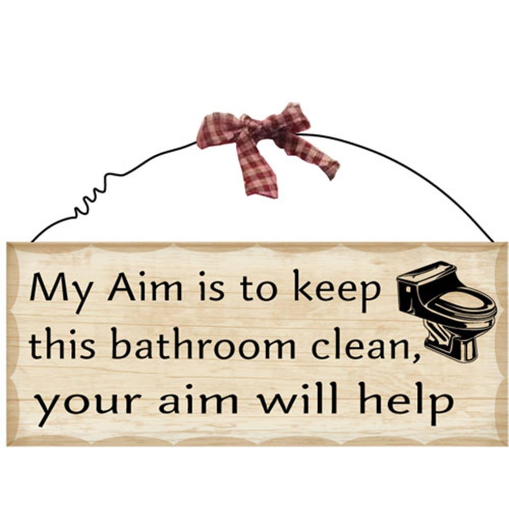 Amazon.com: 1 X 10u0027x4u0027 Wooden Sign Decor   Bathroom Aim By Fuqua5: Home U0026  Kitchen