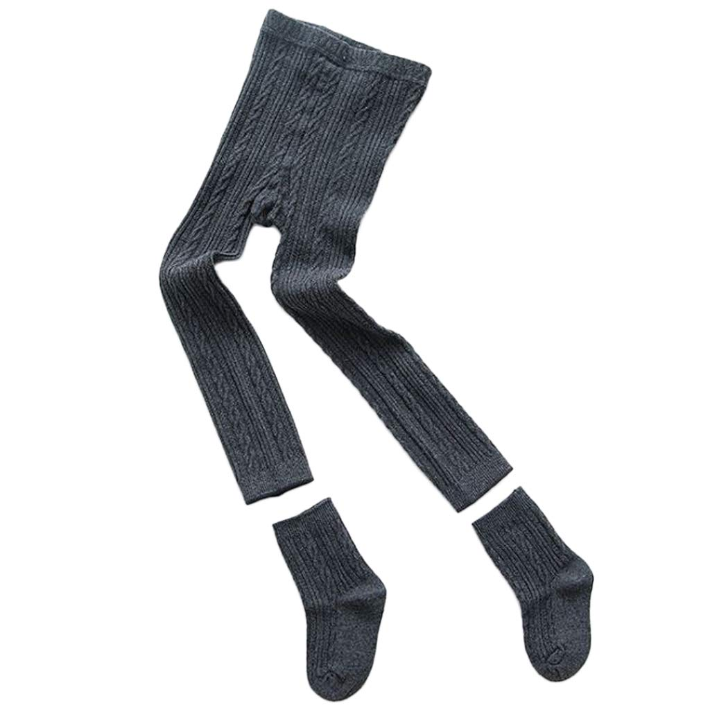 Junlinto Baby Kids Tights Legging Pants Socks Set Ribbed Solid Color Winter Warmer Cotton 4 S