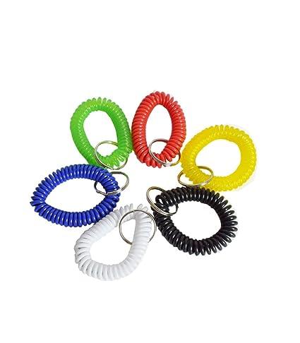 20 llaveros pulsera de plástico en espiral, multicolor