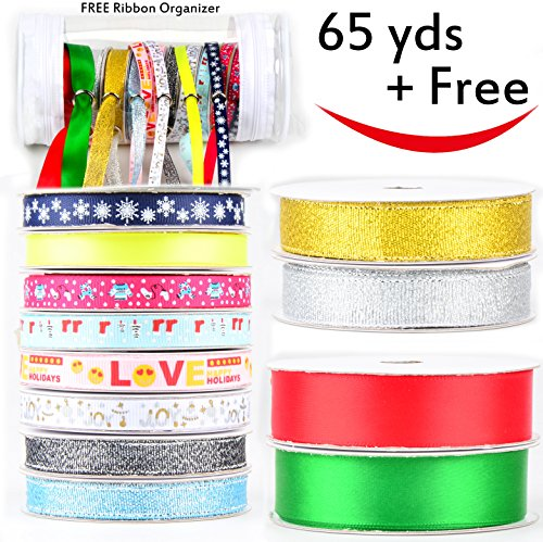 """Holiday Ribbon (12 Pack Ribbon with Ribbon Organizer (65 Yard) for Christmas, Holiday, Winter Package Gift Wrapping, Craft, Sewing, Wedding - Holiday Wrapping Ribbon - 3 widths 3/8"""" 9/16"""" 3/4""""- 12 x 5.5yds)"""