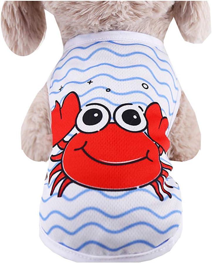 Coversolat Hundeshirt Kleine Hunde Sommer T-Shirt Welpen /Ärmelloses Shirt Weste Wassermelone Krabbe Drucken Hundekleidung