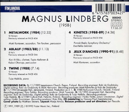 Price comparison product image Magnus Lindberg: Jeux D'Anches; Ablauf; Twine; Metalwork; Kinetics