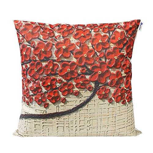 Family Tree Throw (Mecor Happytimelol 18 x 18 Washable Cotton Linen 3D Brown Oil Painting Red Flower Black Tree Print Pattern Pillow Covers for Couch Sofa)