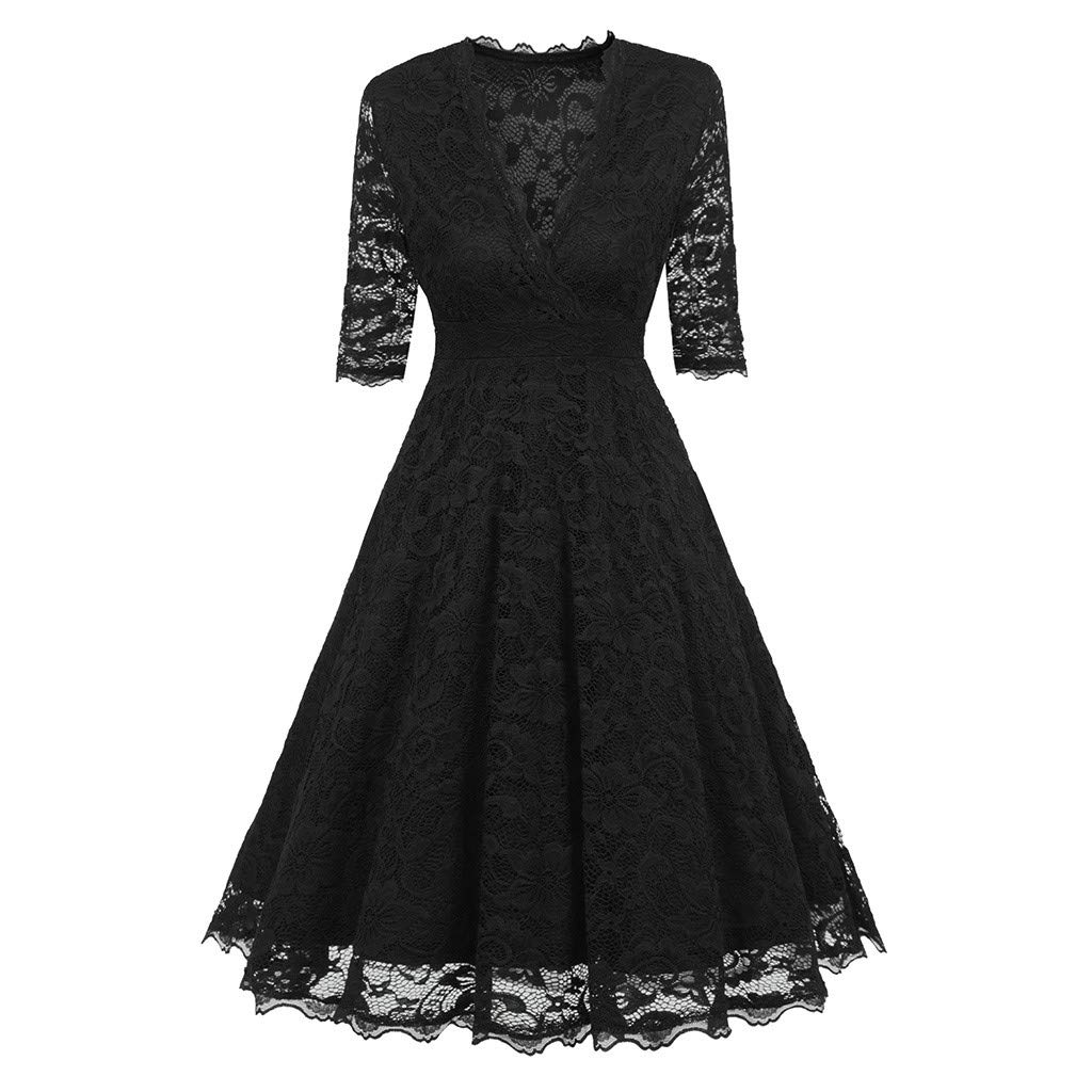 ZIYOU Damen Spitze Cocktailkleid Knielänge Übergröße V-Ausschnitt A-Line Kleid Abendkleid Trägerkleider Etuikleid